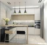 Tủ bếp gỗ MDF xanh kháng ẩm sơn men trắng chữ L – TBB4826