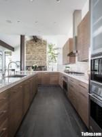 Tủ bếp gỗ Laminate màu vân gỗ chữ L hiện đại  – TBT3752