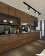 Tủ bếp Laminate vân gỗ đậm dạng chữ I hiện đại sang trọng – TBB4887