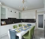 Tủ bếp gỗ Acrylic chữ L màu trắng thiết kế hiện đại – TBT3806