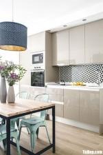 Tủ bếp Acrylic trắng bóng gương chữ I nhỏ xinh cho không gian bếp khoảng 15m2 – TBB4865