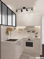 Tủ bếp Acrylic bóng gương nhỏ xinh tiện nghi thích hợp cho không gian bếp khoảng 15m2 – TBB4909
