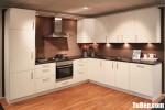 Tủ bếp gỗ MDF xanh kháng ẩm sơn men dạng chữ L đơn giản hiện đại – TBB4970