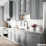 Tủ bếp gỗ Tần Bì tự nhiên sơn men trắng chữ I phong cách Châu Âu hiện đại – TBB4956