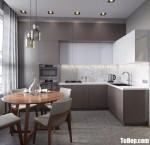 Tủ bếp gỗ MDF xanh kháng ẩm sơn men dạng chữ L đơn giản hiện đại – TBB4984