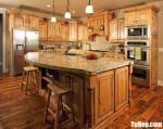 Tủ bếp gỗ Sồi sơn PU chữ L mang đến sự ấm áp cho không gian bếp – TBB5021