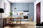Tủ bếp gỗ MDF xanh kháng ẩm sơn men xanh chữ I đơn giản hiện đại – TBB5059