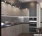 Tủ bếp gỗ MDF xanh kháng ẩm sơn men dạng chữ L hiện đại – TBB5113